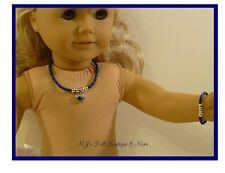 Navy Heart Rhinestone Necklace & Bracelet Set fits American Girl Doll