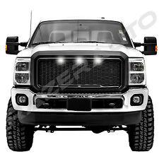 11-16 Ford Super Duty Raptor Matte Black Mesh Grille+Shell+White 3x LED light