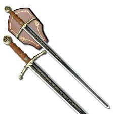 """NEW! 45"""" Black & Silver Two-Handed Runic Medieval Sword w/ Display Plaque"""