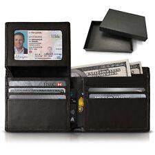 Smart RFID Slim Leather Wallet Purse 13-Pocket Large Capacity w/Gift Box for Men