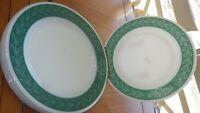 Corningware Pyrex Decor Dinner Plate Green Laurel Leaf Flowers service 4 NOS