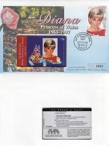 GUYANA 15 OCT 1997 PRINCESS DIANA IN MEMORIAM LE PHONECARD FIRST DAY COVER