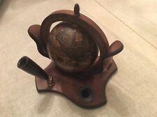 VTG earth globe zodiac astrology wooden made in Italy desktop pen pencil holder