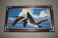 """Framed Canadian Geese Wall Art Portrait Finished Needlepoint 28""""x16"""""""