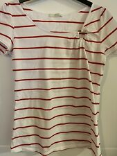 Ladies M&S White Red Striped Cotton Top Size 10