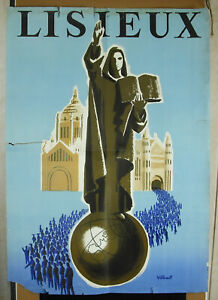 Poster Original Bernard Villemot (1911-1990) Pilgrimage Grotte of Lisieux