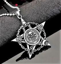 Edelstahl Anhänger +Kette Pentagramm Amulett Satan Gothic EMO Punk Scull