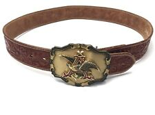 Vintage Anheuser-Busch Raintree Buckle Vogt Tooled Genuine Leather Belt size 30