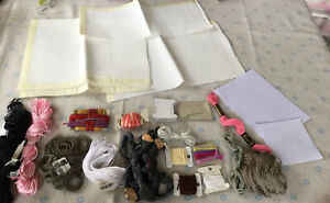 Job Lot Of Various Embroidery Threads & Aida