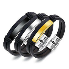 Creative Men's Leather Stainless Steel Bracelet Double Layer Rope Magnetic Wrist
