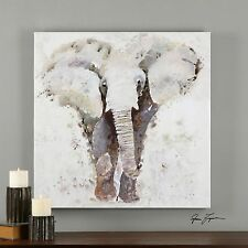 Large Contemporary Elephant Oil Painting | Wall Art Square Gray White