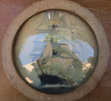 Vintage Round Framed Boat Poster Art Seaside Ocean Dome Panel Home Decor