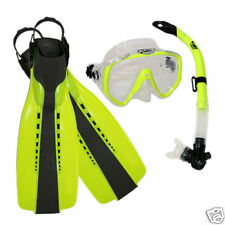 Scuba Diving Silicone Mask Semi-Dry Snorkel Fins Gear Set