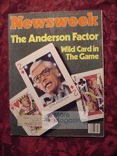 NEWSWEEK June 9 1980 6/9/80 John Anderson South Korea John Travolta Superliners