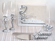 Silver Hearts Wedding Bells Guest Book Cake Server Toasting Flute Accessory Set
