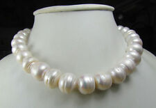"Pearl Necklace 18"" 18K Gp Clasp Hot Huge 10-11Mm Natural South Sea White"