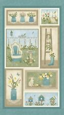 "May Day Frames Secret Floral Gardens Home Quilting Fabric Panel 24"" Benartex"