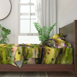 Chartreuse Watercolor Paint Violet 100% Cotton Sateen Sheet Set by Roostery