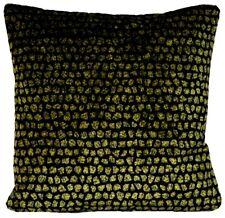 """Velvet Cushion Cover Osborne & Little Fabric Green Black Dots Square 16"""""""
