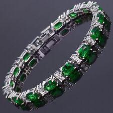 Xmas Oval Cut Green Emerald Fine Topaz 18K White Gold Plated Tennis Bracelet