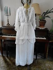 Vintage 1900's Cotton Edwardian Lawn  DRESS GOWN 34-22-40 Beautiful for Wedding