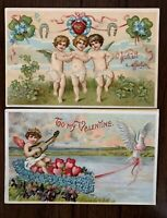 Nice~Lot of 2 Cupids with Hearts~Boat~Flowers~Antique Valentine Postcards--s390