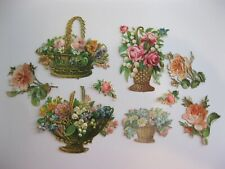 Victorian 1800's German Die Cut ORIGINAL Baskets of Roses Embossed Scraps 36