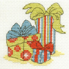 "DMC Christmas Mini Cross Stitch Kit ""Presents"" inc Iridescent Aida"