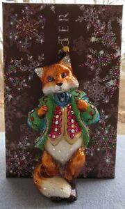 Jay Strongwater Jubilee Fox Ornament Swarovski Elements New with Box