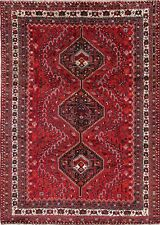 Vintage Tribal Geometric Lori Hand-Knotted 7'x10' RED Wool Area Rug Nomad Carpet