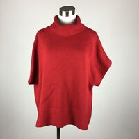 Coldwater Creek 1X Sweater Pullover Red Loose Turtleneck Short Cleeve Cotton Ble