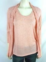 Elementz Coral Long Sleeve 2Fer Striped Cardigan Sweater Womens Size Small 4 6
