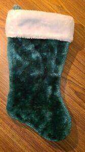 "SANTA'S BEST Green Plush Christmas Stocking White Cuff 17"" Traditional"