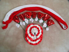 Set of Draft Horse Decorations - Red, White Mane, Tail, Flowers