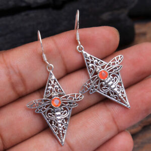 "Silver Plated Metal Jewelry CARNELIAN WIRE HANDCRAFTED Earrings 1.7/"""
