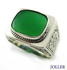 MEN'S VINTAGE SIGNET RING GREEN AGATE STERLING SILVER 925 BY JOLLER