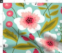Pink Flowers Floral Mint Colorful Spring Spoonflower Fabric by the Yard