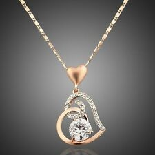 New Sparkly Austria Clear White Crystal Rose Gold Plated Heart Pendant Necklace