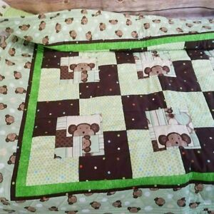 Handmade Patchwork Crib Quilt Monkeys
