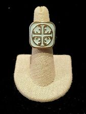 """Fashion Stretch """"Tori Burch"""" Style Ring Mint and Gold ~ NWT ~ FREE Returns - OS"""