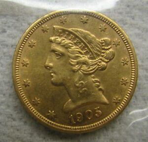 1905-S Half Eagle $5 Gold Coin ICG MS-63 to PF 63