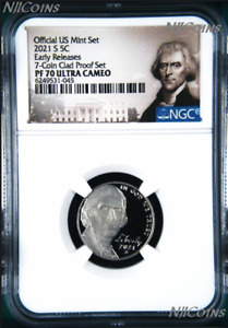 2021 S Proof 5C Nickel 7-coin-clad-proof-set Version NGC PF70 ULTRA CAMEO ER