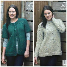 Knitting Pattern femmes très facile Knit Veste & Pull Chunky King Cole 4038