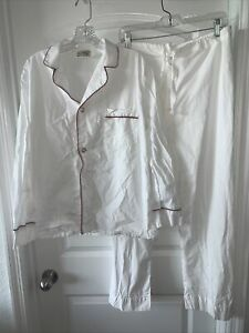 LL Bean Mens 2 Piece White Pajama Set Top Pants Size Medium New