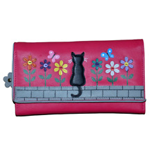 MALA Leather Cat Purse Pink Ladies TriFold Coin Card Holder Large Wallet Purses