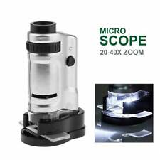 20 to 40X Zoom Pocket Microscope LED Light Illuminated Magnifier with 2 Slides