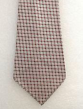 Check tie Vintage 1950s Terylene White Burgundy Silver ILA Mans Wear