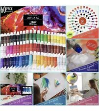 CRAFTS 4 ALL Acrylic Paint Set 60 Color Pack New. Use on Canvas Wood Fabric