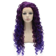Long Curly Two Tone Purple Synthetic Lace Front Cosplay Party Wig