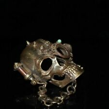 Collectable Handwork Copper Carving Skull Head Usable Belt Buckle Lucky Statues